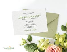 Visit my shop for a unique #printable_wedding_invitation_suite, #simple_wedding_invitation, #calligraphy_invite with line art plant elements , digital file, #diy_wedding by Sophie0610Designs on Etsy