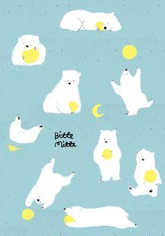 Polar Bear Illustration, Watercolor Illustration, Art And Illustration, Cute Polar Bear, Cute Bears, Bear Character, Character Design, Cute Drawings, Animal Drawings
