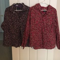 2 long sleeved button down blouses. Gently worn, I loved these 2 wish they still fit. See close up of pattern. Long sleeved button down. Very professional with dress slacks or fun with a pair of jeans. Faded Glory Tops Button Down Shirts