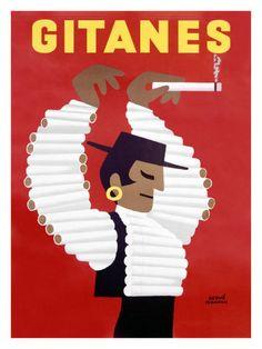 Smoking Room: Gitanes Swiss Cigarette Vintage Poster | Art Canyon
