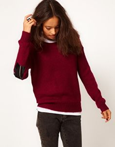 ASOS | ASOS Patent Elbow Patch Jumper In Mohair at ASOS  This would be really easy to do!