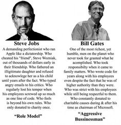 Steve Jobs vs Bill Gates Measures of character Bill Gates Steve Jobs, Funny Headlines, Steve Wozniak, Public Opinion, Successful People, Memes, Laughter, Motivational Quotes, Funny Pictures