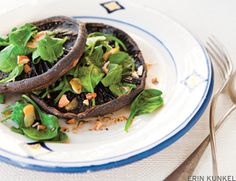 Mushroom with wilted spinach and almonds