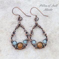 Teardrop Wire wrapped earrings / Solid copper earrings / wire