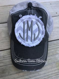 68e692e5b2c Items similar to Monogrammed distressed trucker hat initials with stitching  womens personalized cap raggy patch Christmas gift on Etsy