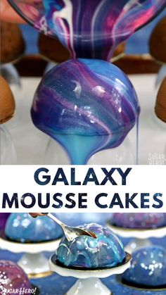 Galaxy Mousse Cakes - mini chocolate mousse cakes on a brownie base, covered wi. - Galaxy Mousse Cakes - mini chocolate mousse cakes on a brownie base, covered wi. Galaxy Mousse Cakes - mini chocolate mousse cakes on a brownie base. Mini Chocolate, Chocolate Mousse Cake, Nutella Mousse, Galaxy Chocolate, Chocolate Videos, Chocolate Bowls, Chocolate Shop, Chocolate Covered, Cake Decorating Videos