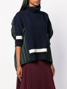 Sacai roll neck hybrid jumper - Outfits for Work Jumper Outfit, Cardigan Outfits, Fashion Details, Look Fashion, Womens Fashion, Creation Deco, Grunge Look, Knitwear Fashion, Embroidery Fashion