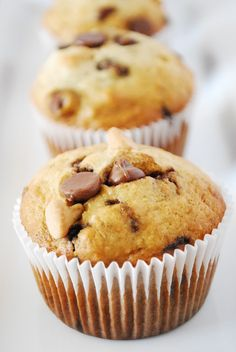 Peanut Butter and Chocolate BananaMuffins~ a few of my favorite things all rolled up in one.
