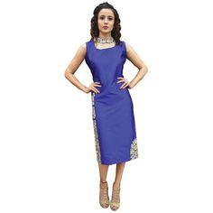 Blue plain art silk kurtas-and-kurtis - Adorn Fashion - 1811461 Silk Kurtas, Kurti, Shops, Dresses For Work, Clothes For Women, Awesome, Fabric, Blue, Color
