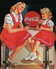 Soda fountain scene in a vintage Coca Cola ad.