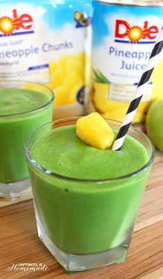 """Here's a great way to get your busy on-the-go kids to eat their fruits and vegetables - fruit kabobs and a """"Mean Green Machine"""" pineapple smoothie recipe!"""
