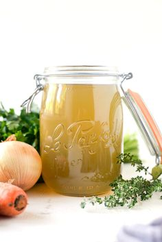 Chicken bones cook low and slow with carrot, onion and celery yielding a rich stock. Homemade Chicken Stock, Homemade Sauce, Teriyaki Chicken, Slow Cooker Soup, Slow Cooker Chicken, Buffalo Chicken, How To Store Apples, Chicken Scratch Embroidery, Chicken