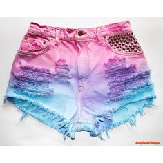 DirtySouthVintagee High Waisted Shorts Summer Fun Tie Dye All Sizes (€17) ❤ liked on Polyvore featuring shorts and cut-off