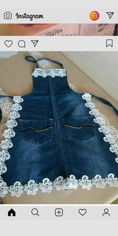 Diy Crafts - Details about Toddler Baby Kids Girls Cat Denim Jeans Overalls Dress Skirt Clothes For Artisanats Denim, Denim And Lace, Jean Crafts, Denim Crafts, Jean Diy, Jean Apron, Denim Ideas, Diy Couture, Recycle Jeans