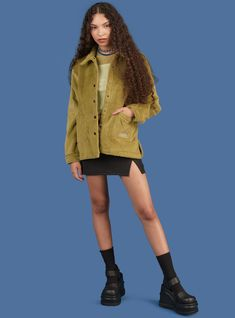 Fuzzy inspired work jacket with front pockets and snap button closure with a slightly oversized fit. Lining: Cotton, Spandex Model is and wearing a size S. Pretty Outfits, Cool Outfits, Casual Outfits, Fashion Outfits, Aesthetic Fashion, Aesthetic Clothes, Twin Set, Mode Kpop, Mode Streetwear
