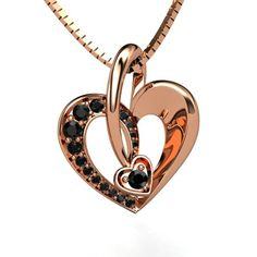 14K Rose Gold Necklace with Black Diamond - perspective