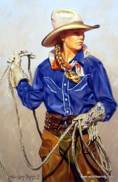 "This young cowgirl, whose wearing a vibrant blue button up shirt, is practicing her lasso skills. This print is available unframed in an open edition with an image size of 16.5""x25"""