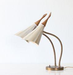 Mid Century Modern Lamp - Double Gooseneck Cone Lamp.