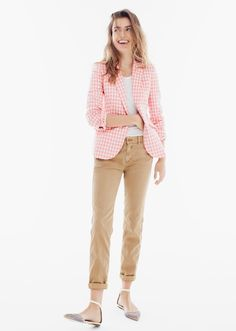 J.Crew How to Give Your Chino Personality Classic khaki, six new silhouettes. Just add accessories—or not. - the Sunday slim chino #howtowear