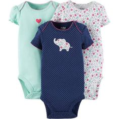 Child Of Mine by Carter's Newborn Baby Girl Bodysuit, 3 Pack