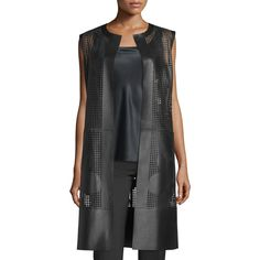 Lafayette 148 New York Faye Laser-Cut Leather Long Vest (€1.360) ❤ liked on Polyvore featuring outerwear, vests, black, sleeveless waistcoat, sleeveless vest, lafayette 148 new york, long vest and long leather vest