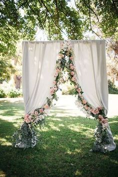 40 elegant ways to decorate your wedding with floral garlands floral garland ceremony arch - Gold Wedding Arch Backdrops
