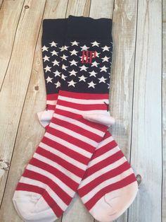 American Flag  Mens Monogram Socks  july by CraftyMommaCompany