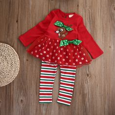 Infant Baby Girls Kids Xmas Bodysuit Romper Tops Long Pants Leggings Outfits Set #Affiliate