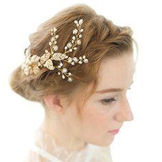 FAYBOX Vintage Gold Twig Crystal Pearl Side Combs Bridal Headpiece Wedding Accessories A
