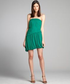Vera Wang Lavender Label : emerald pleated silk chiffon ruffle trim strapless dress : style # 322502701 $209
