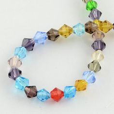"""Glass Beads Strands, Faceted, Bicone, Mixed Color, 4mm, Hole: 1mm; about 83pcs/strand, 13"""" #054 by SkylineBeads on Etsy"""