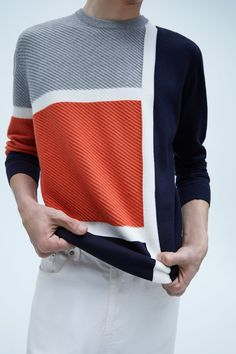 Zara United States, Color Block Sweater, All Brands, Winter Wear, Wool Sweaters, Color Blocking, Knitwear, Men Sweater, Mens Fashion