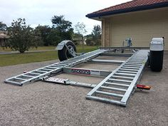 Raceking Car Trailers lower to the ground for safe loading without ramps. The perfect car trailer for low race cars, exotic sports cars, vintage, drag, drift and motorhome vehicles. Trailer Ramps, Trailer Deck, Trailer Storage, Dump Trailers, Trailer Plans, Trailer Build, Utility Trailer, Car Trailers For Sale, Custom Trailers