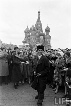 USSR. People celebrating the first flight into the space, Moscow, 1961 // Life Magazine