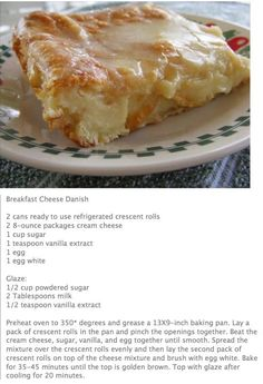 Breakfast Cheese Danish recipe - this would also be yummy with a layer of cherry pie filling or sub ricotta cheese and layer with lemon curd Calling it the cream cheese danish dish. Breakfast Cheese Danish using refrigerator crescent rolls-recipe by aish Breakfast Cheese Danish, Breakfast Pastries, Breakfast Items, Breakfast Dishes, Breakfast Recipes, Dessert Recipes, Cream Cheese Danish, Brunch Recipes, Cream Cheese Coffee Cake