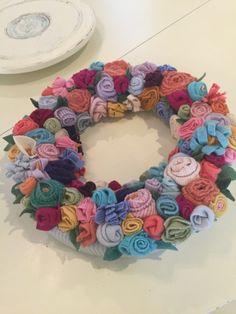 Felted sweater scrap wreath