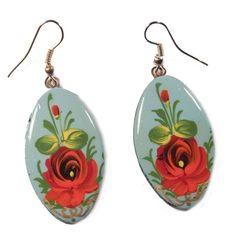 Earrings Rose on Blue - Zhostovo Jewelry - Russian Jewellery Russian Jewelry, Rose Earrings, Stone Jewelry, Folk Art, Fashion Jewelry, Crafty, Beads, Floral, Accessories