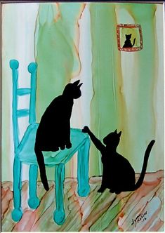 """Original Painting Black Cats on Chair 5x7""""  """"Two Cats and a Chair"""", an original painting signed by artist, Lynne Kohler. Painted using alcohol inks on 74# polypropylene, acid free, tree free watercolor paper."""