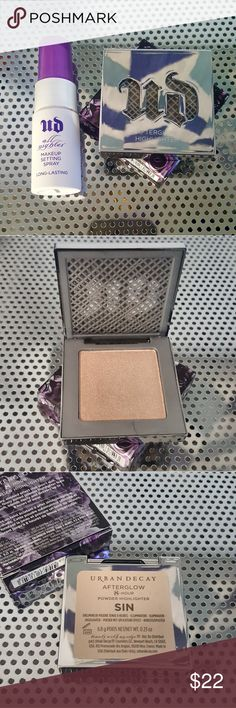 NIB Urban Decay Highlighter + Deluxe setting spray Includes a full size Urban Decay Afterglow 8 hour highlighter in Sin (a champagne highlight) in the birthday edition box and a deluxe size All Nighter makeup setting spray. Both new in box never used or swatched. Only taken out for pictures. Urban Decay Makeup Luminizer