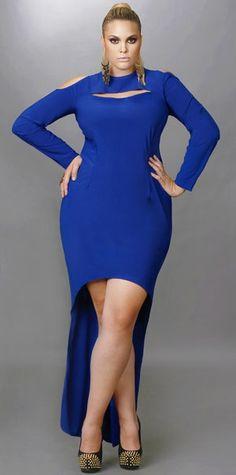 "Monif C Plus Sizes Fall 2012: ""Dana"" Exposed Shoulder High/Low Dress"
