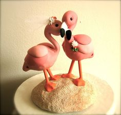 Flamingos custom wedding cake topper