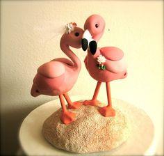 Flamingos custom wedding cake topper
