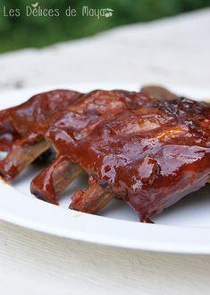 Les délices de Maya: Côtes levées au barbecue de Ricardo Ribs, Maya, Steak, Bacon, Nutrition, Breakfast, Barbecues, Restaurants, Rib Recipes