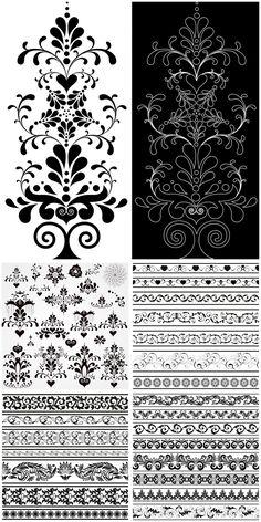 Ornamental embellishment elements vector