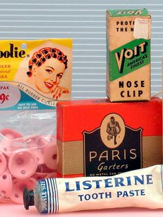 Bathroom Collectibles brighten the home: Spoolie (Spoolies) rubber hair curlers, USA, 1949. Voit Nose Clip (for swimmers), USA, c1960. Paris Garters (sock garters), A. Stein & Co., USA, c.1950. Listerine Toothpaste 'Double Size,' Lambert Pharmacal Co., St. Louis, USA, c.1950. From the web's largest private collection of antiques & collectibles: http://www.ericwrobbel.com/collections