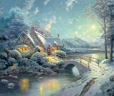 Thomas Kinkade Christmas Moonlight painting for sale, this painting is available as handmade reproduction. Shop for Thomas Kinkade Christmas Moonlight painting and frame at a discount of off. Thomas Kinkade Art, Thomas Kinkade Christmas, Christmas Scenes, Christmas Art, Christmas Feeling, Christmas Night, Outdoor Christmas, Kinkade Paintings, Thomas Kincaid