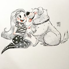 posted by huangkm122 via instagram :   Day5 The girl and the dog  Trying some brush and ink. Need more drawing practice  #inktober #inktober2017 #illustration #girl #dog #friendship #ink #brushpen #character #practice  brushpen,inktober,inktober2017,friendship,ink,illustration,girl,practice,dog,character