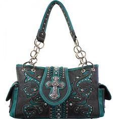 Concealed Carry Cross Buckle Floral Cutout Handbag