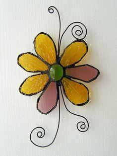 Stained glass suncatcher  Flower by SaintGlass on Etsy