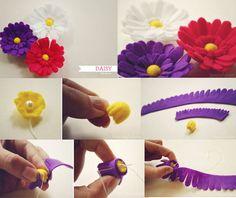passo-a-passo flores em feltro, flores, feltro, handmade, artesanato em feltro, @temarteemtudo